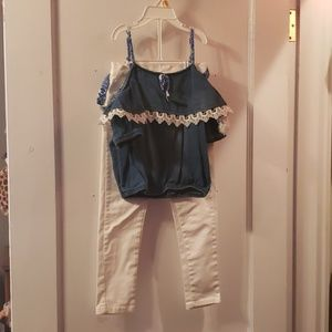Blue jean top with white pants